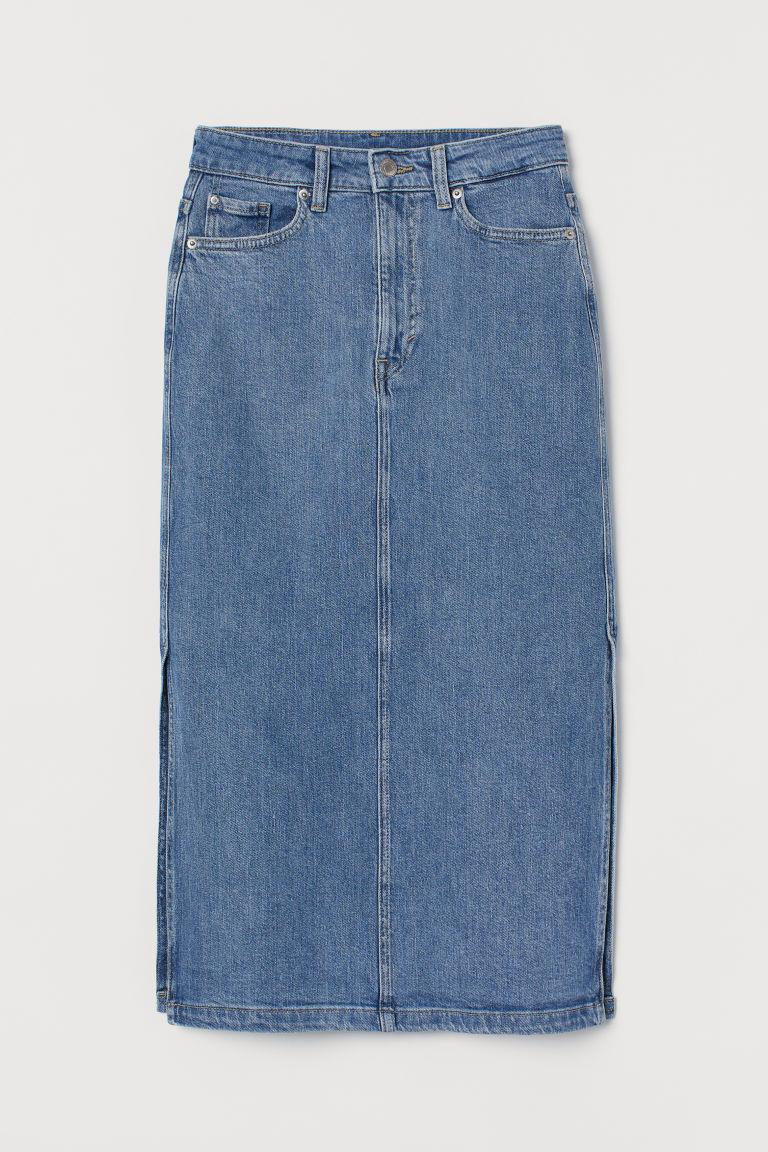 H & M - 丹寧牛仔及膝裙 - 藍色