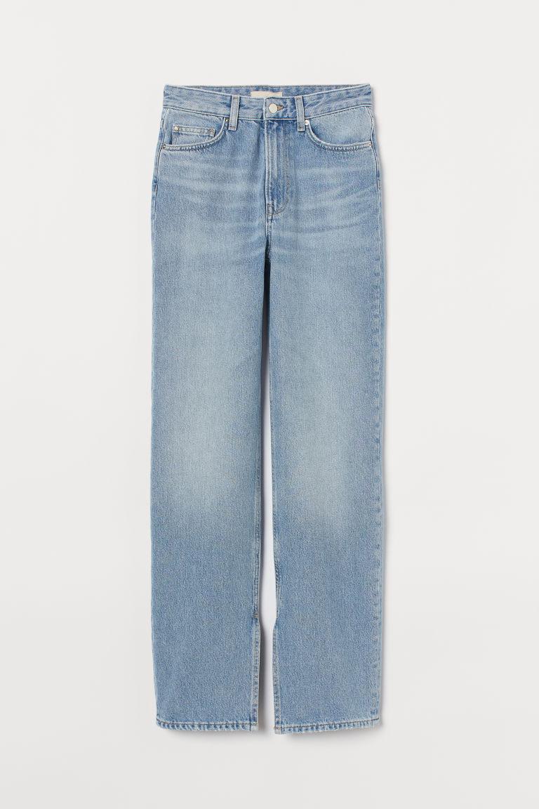 H & M - 直筒高腰牛仔褲 - 藍色