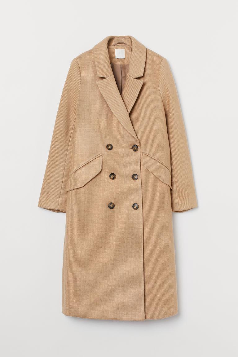 H & M - 雙排扣大衣 - 米黃色