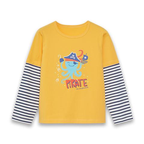 【EASY輕鬆系列】麗嬰房 海盜章魚針織棒球上衣-中黃 (76cm~130cm)