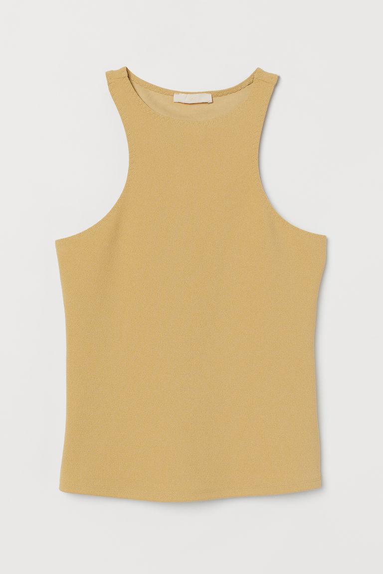 H & M - 縐紗背心上衣 - 黃色