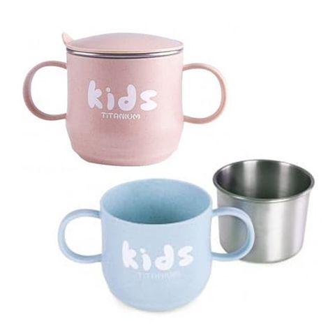 【Tiliving】純鈦兒童學習雙手柄杯 250ml-藍