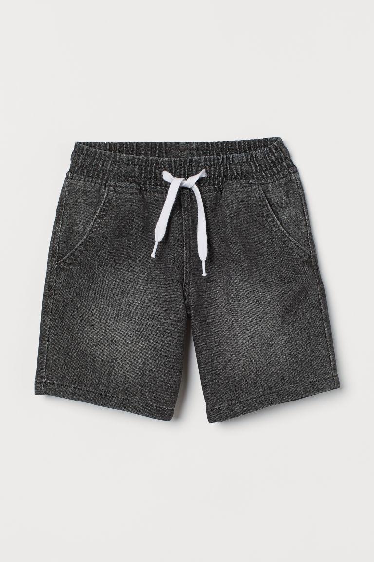 H & M - 丹寧鬆緊式短褲 - 灰色