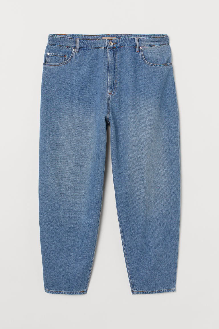 H & M - H & M+ 桶形褲管高腰牛仔褲 - 藍色