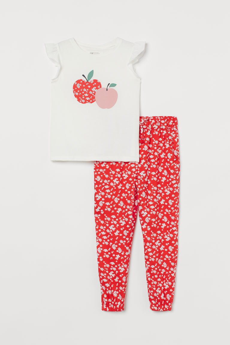 H & M - 棉質2件組套裝 - 紅色