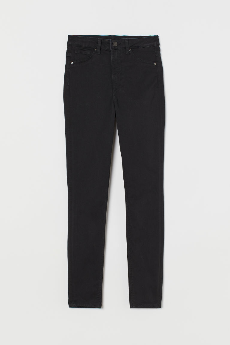 H & M - 曲線高腰牛仔內搭褲 - 黑色