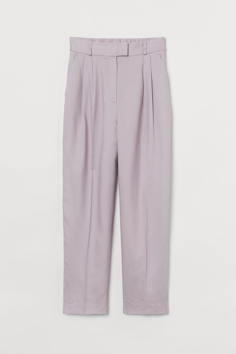 H & M - 褶線長褲 - 紫色