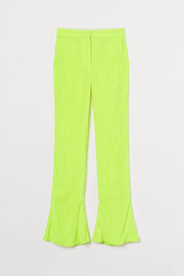 H & M - 天鵝絨喇叭褲 - 黃色