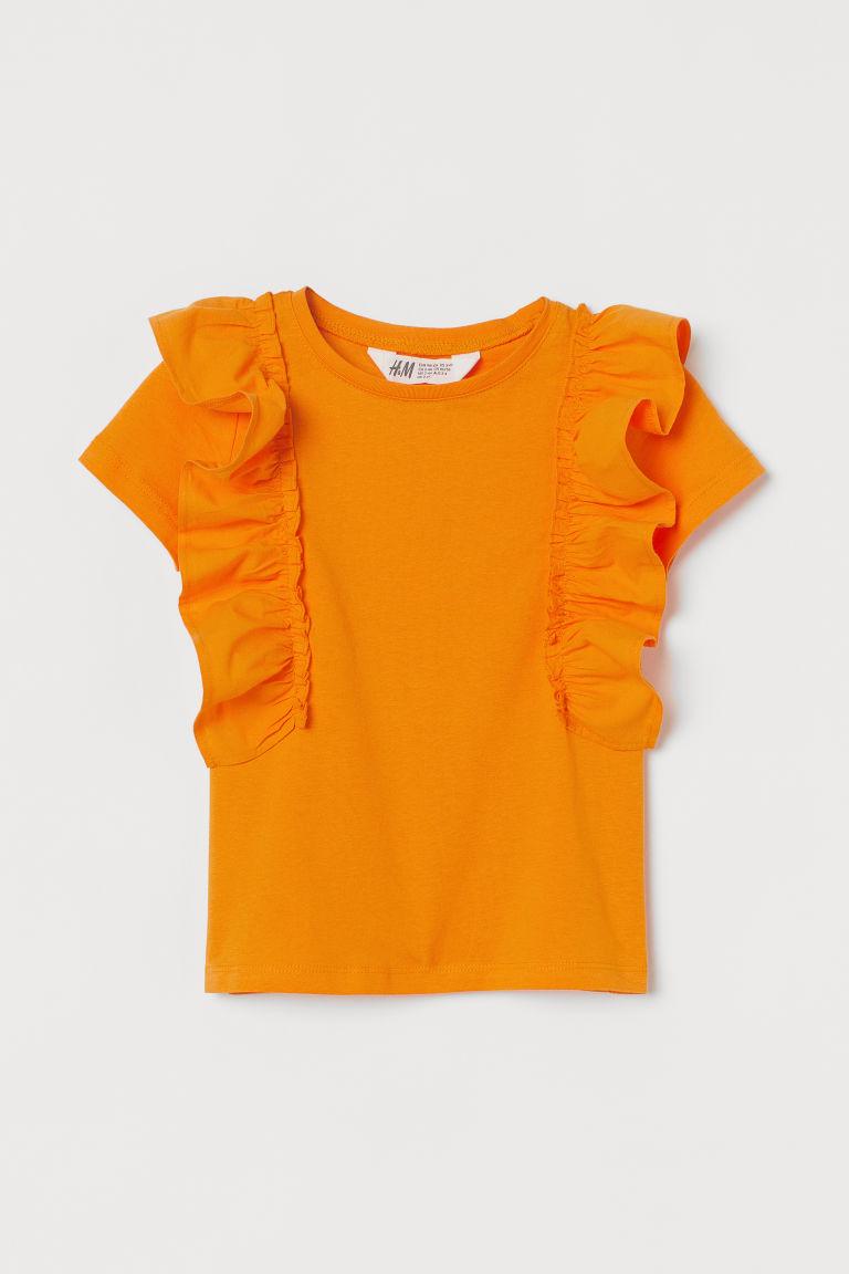 H & M - 荷葉邊棉質上衣 - 橙色
