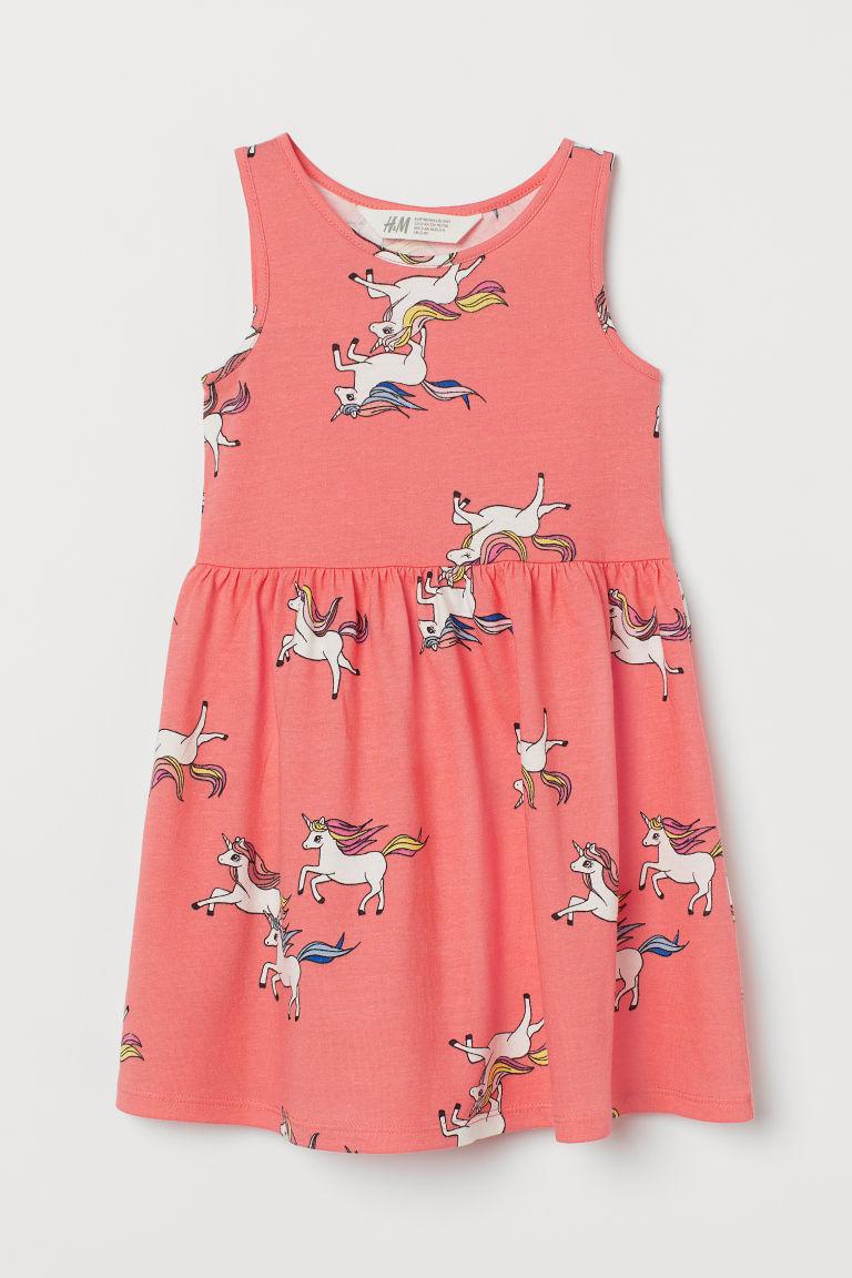H & M - 印花平紋洋裝 - 紅色