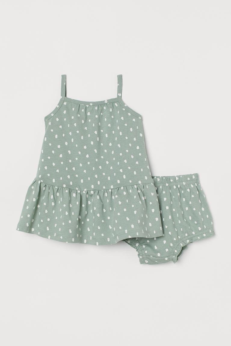 H & M - 棉質2件組套裝 - 綠色