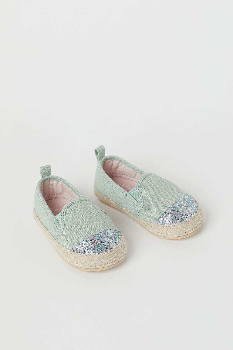 H & M - 金蔥草編鞋 - 綠色