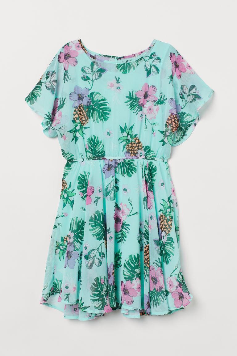 H & M - 雪紡洋裝 - 藍綠色