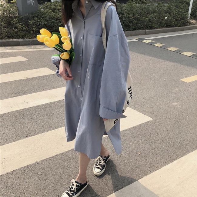 FOFU-韓國蝙蝠袖oversize翻領側開叉寬鬆中長版襯衫裙【08SG05804】