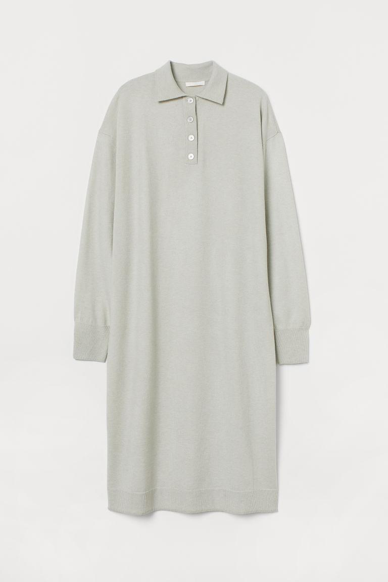 H & M - 有領針織洋裝 - 灰色