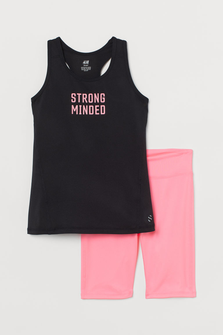 H & M - 2件組運動套裝 - 粉紅色