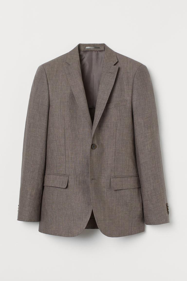 H & M - 貼身亞麻外套 - 米黃色