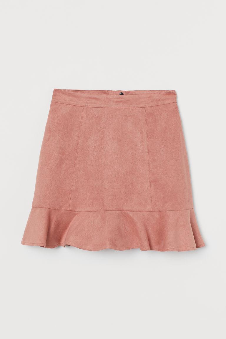H & M - 荷葉邊短裙 - 粉紅色