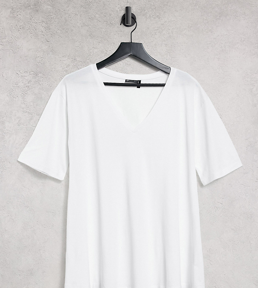 ASOS DESIGN Tall swing t-shirt with v neck in white