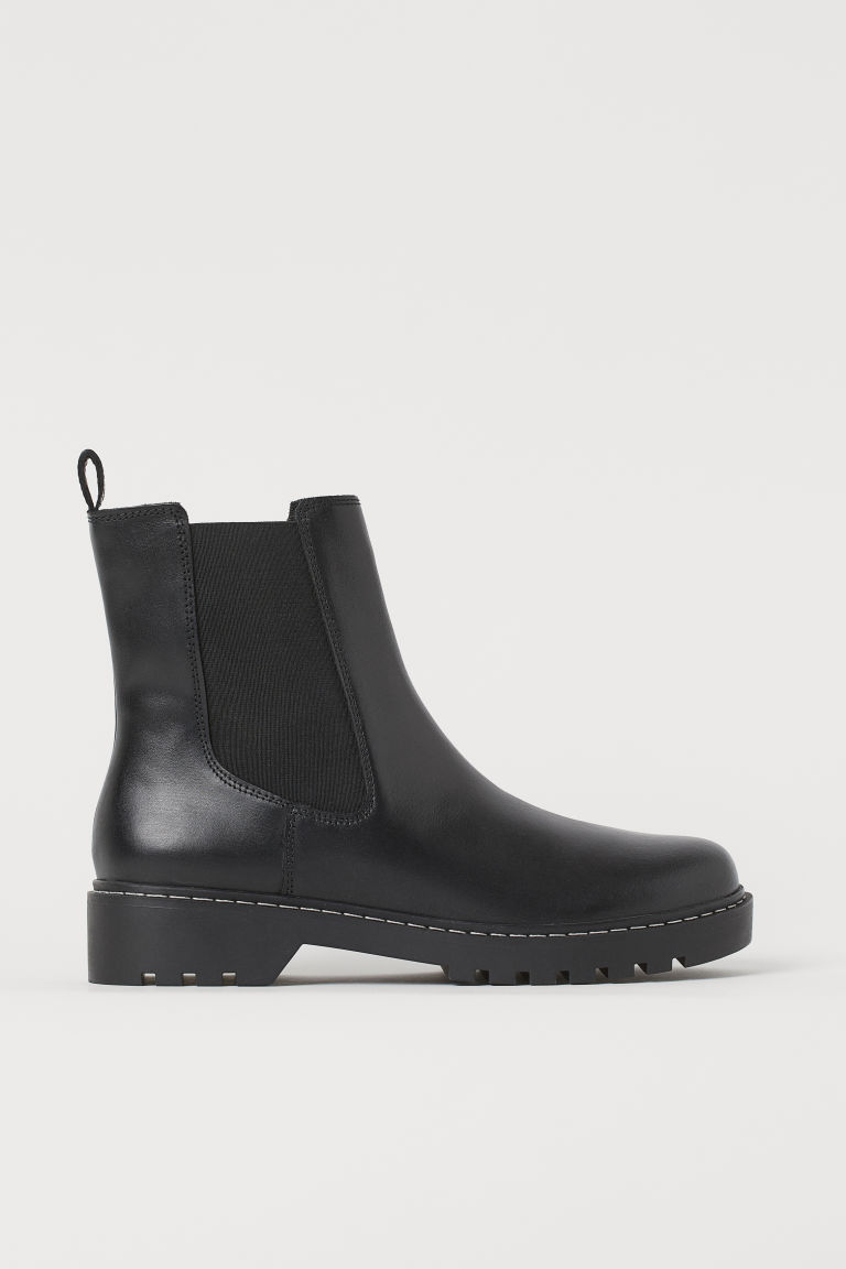 H & M - 真皮切爾西靴 - 黑色