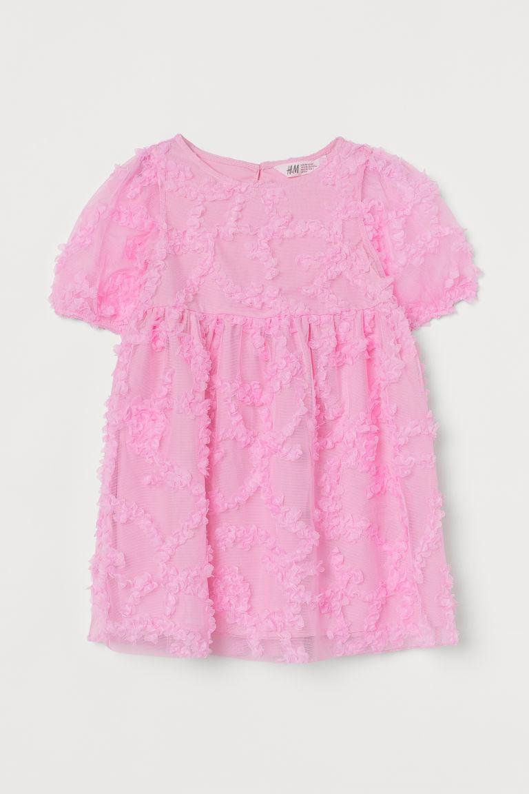 H & M - 公主袖薄紗洋裝 - 粉紅色