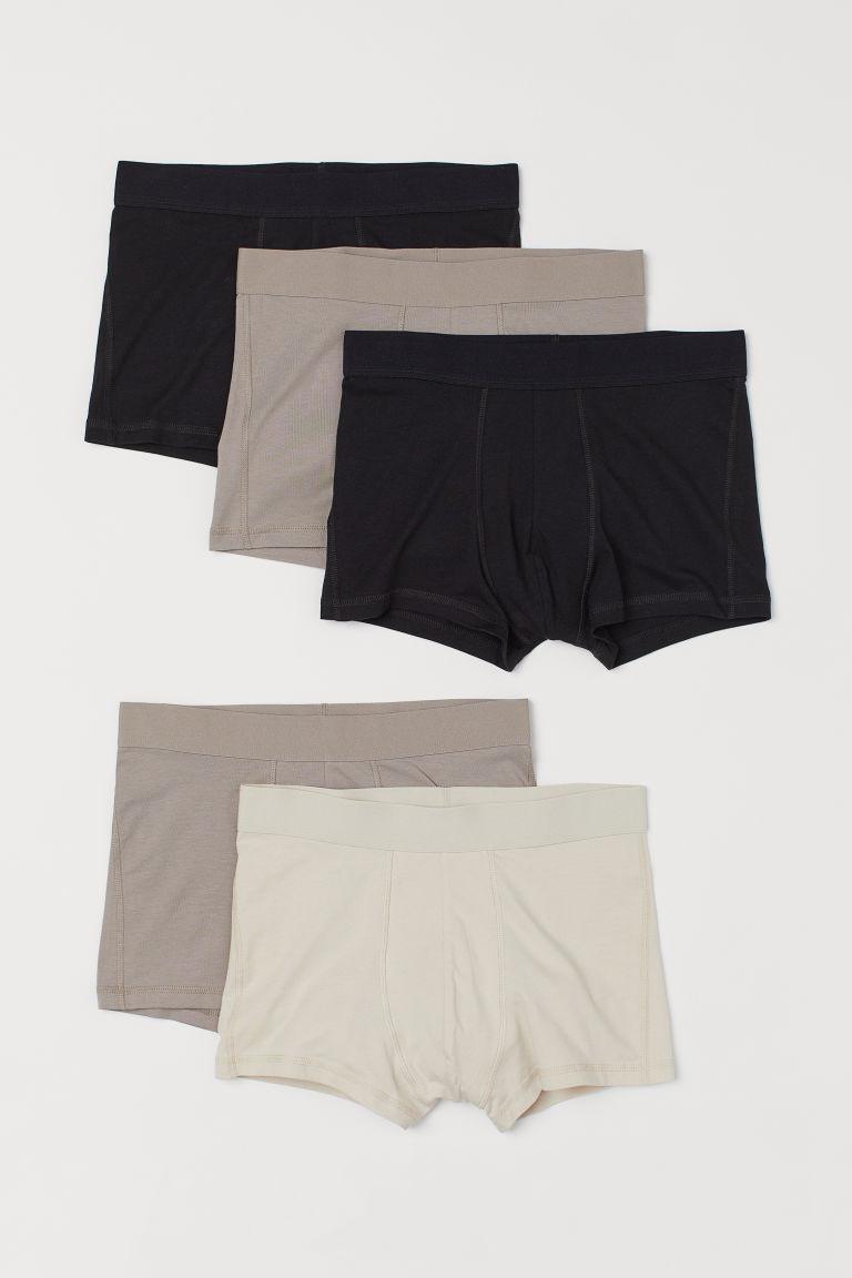 H & M - 5件入四角褲 - 米黃色