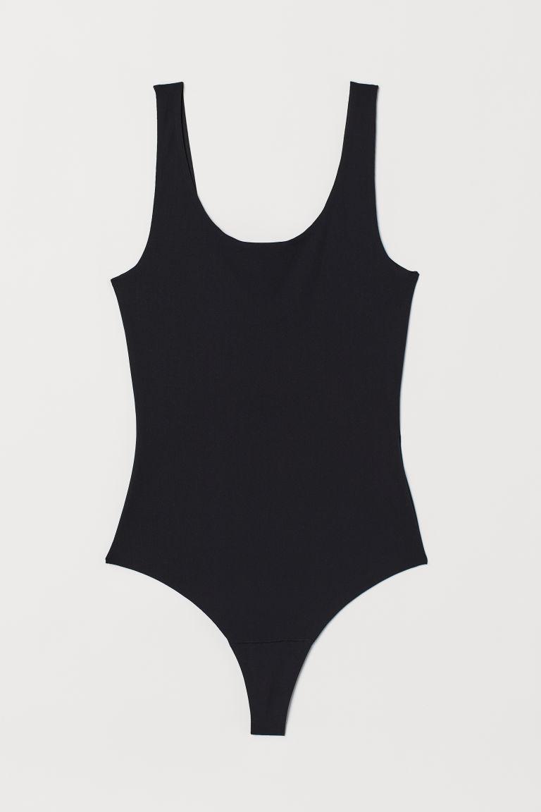 H & M - 平滑極細纖維緊身連身衣 - 黑色