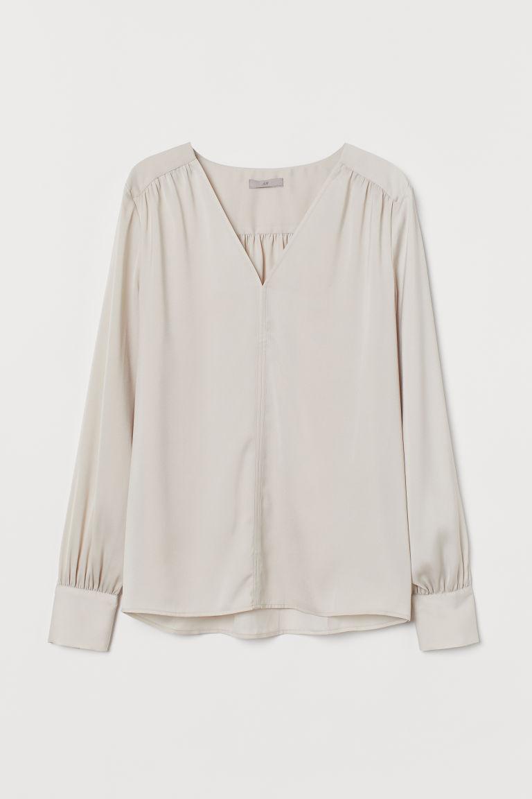 H & M - V領女衫 - 褐色