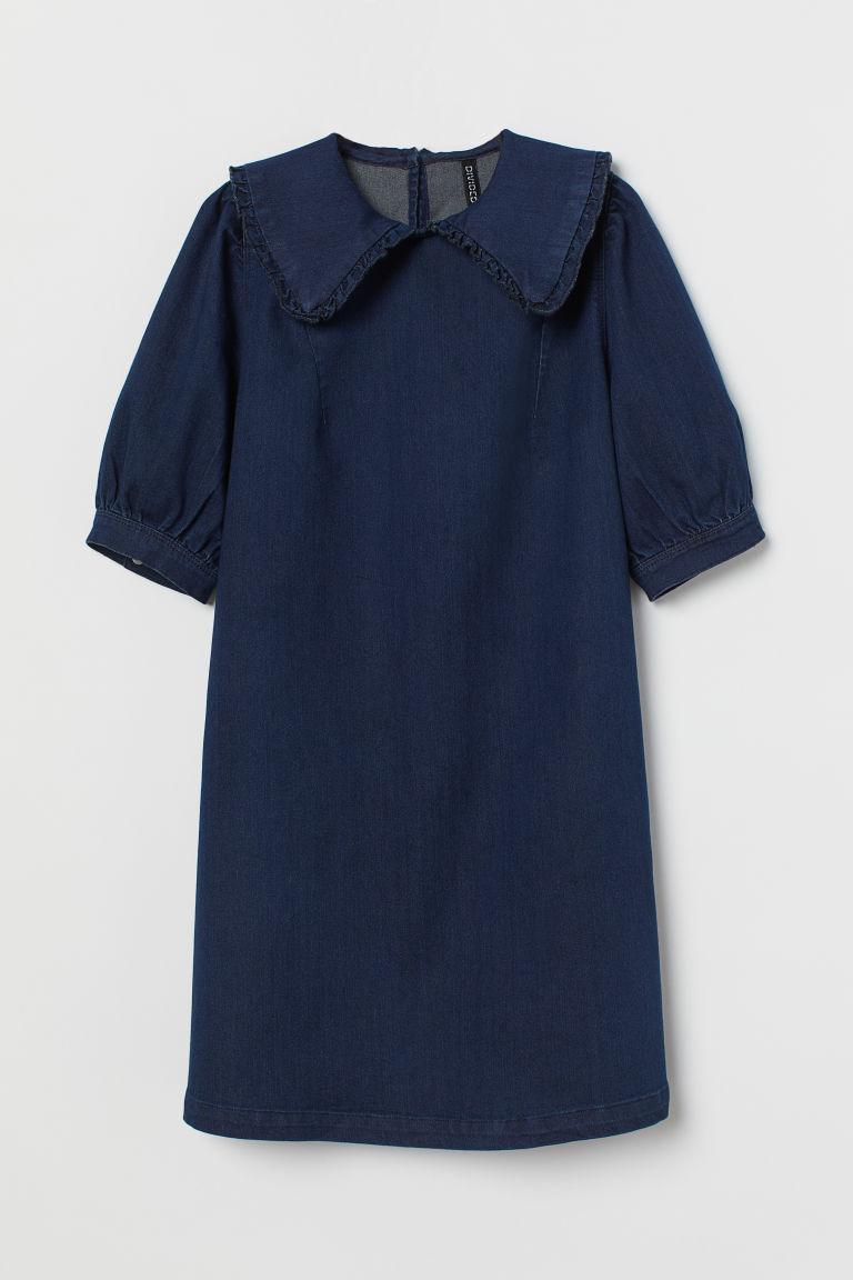 H & M - 有領丹寧洋裝 - 藍色