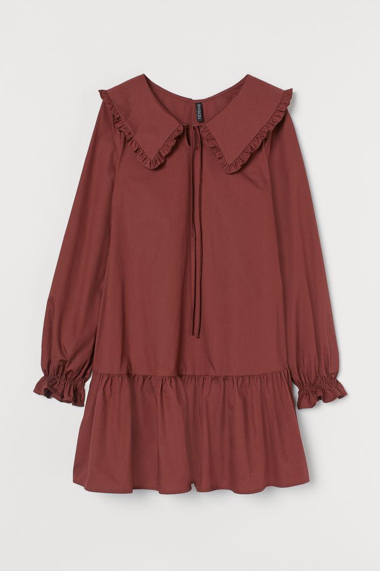 H & M - 加大衣領洋裝 - 橙色