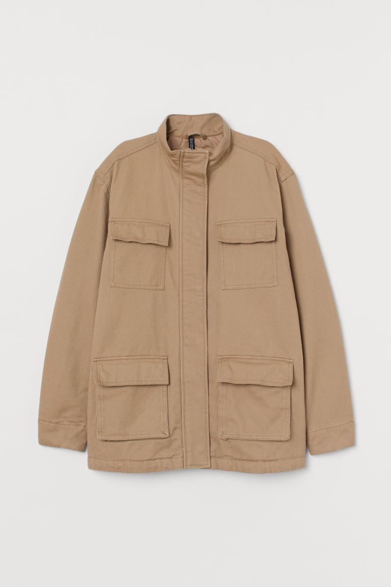 H & M - 棉質斜紋外套 - 米黃色