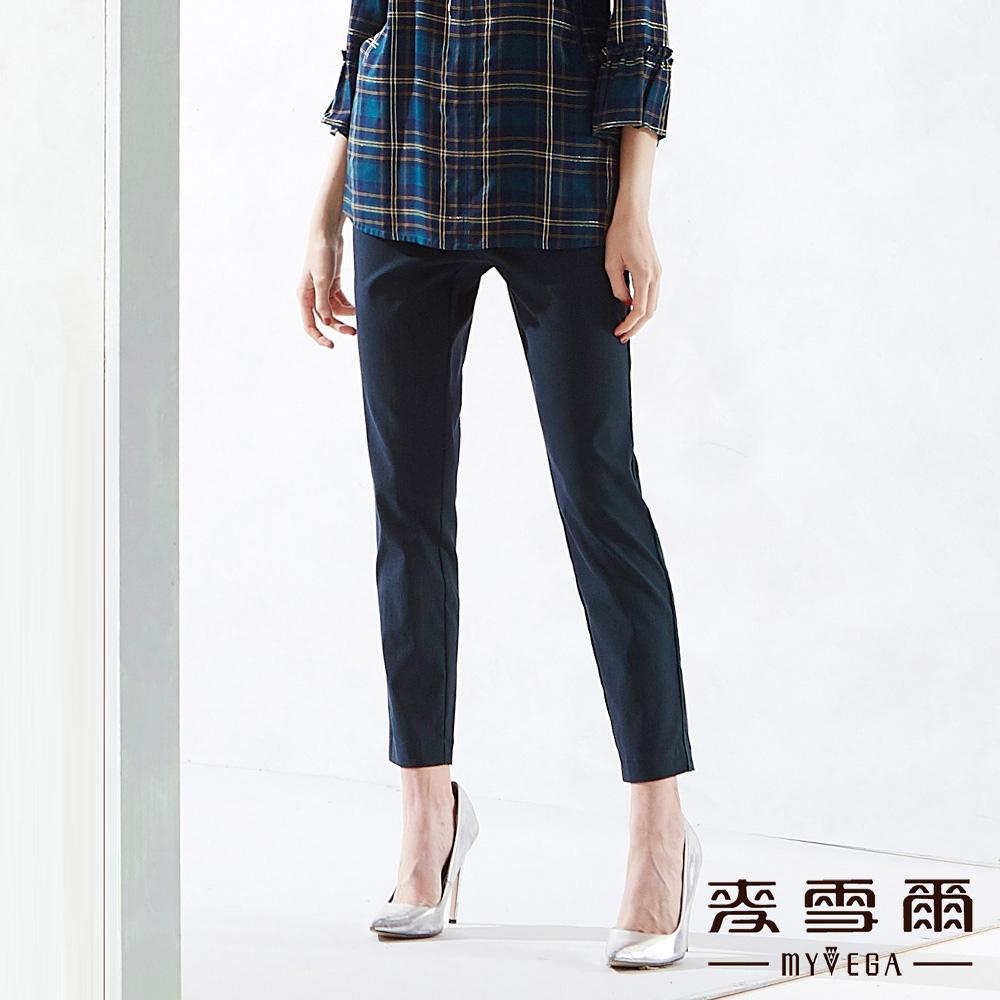 【麥雪爾】褲頭設計剪裁純色褲-綠