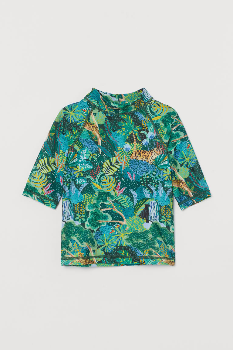 H & M - UPF 50 印花泳衣 - 藍色