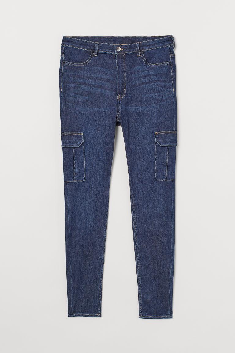 H & M - H & M+ 貼身高腰工作牛仔褲 - 藍色