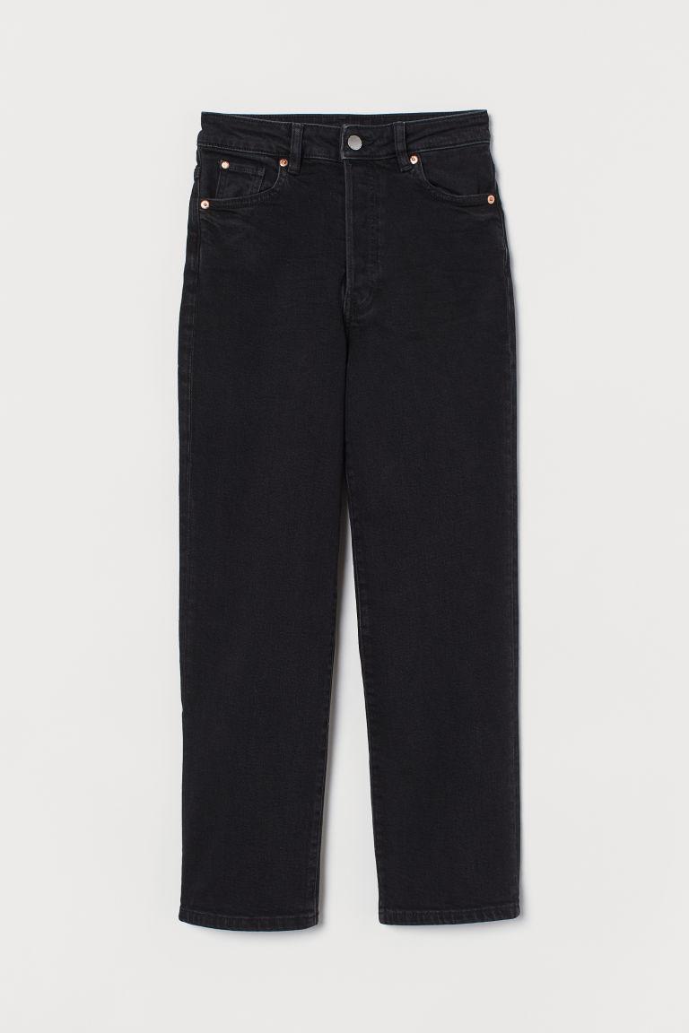 H & M - 復古直筒高腰牛仔褲 - 黑色