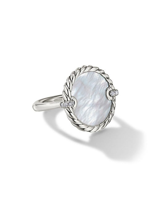 DY Elements® Ring With Mother-Of-Pearl & Pavé Diamonds