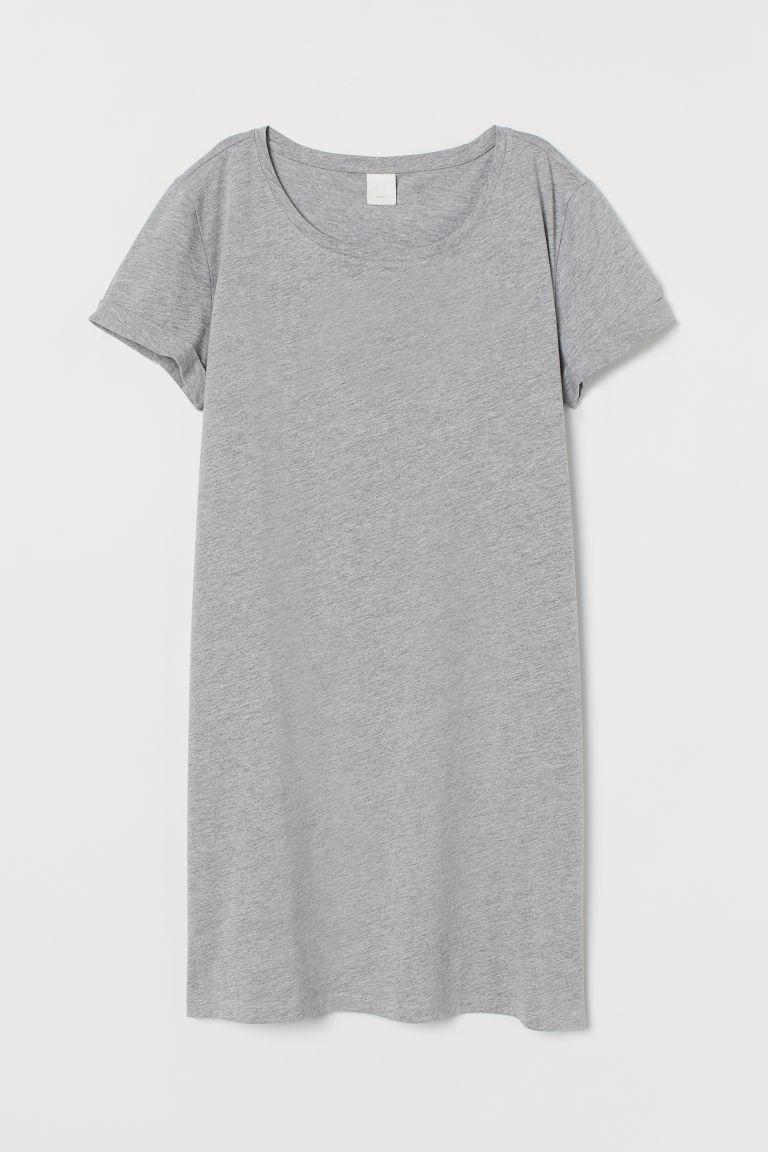 H & M - 平紋T恤洋裝 - 灰色
