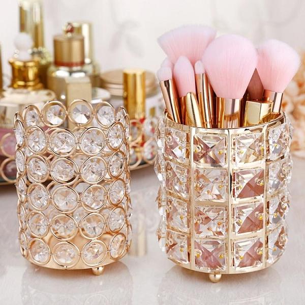 納多多水晶化妝刷收納筒歐式眉筆梳子彩妝刷具桶桌面化妝品整理盒