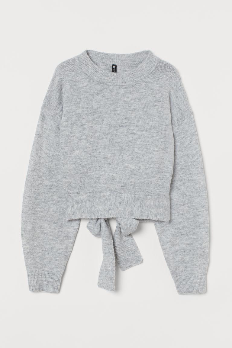 H & M - 後綁帶針織套衫 - 灰色