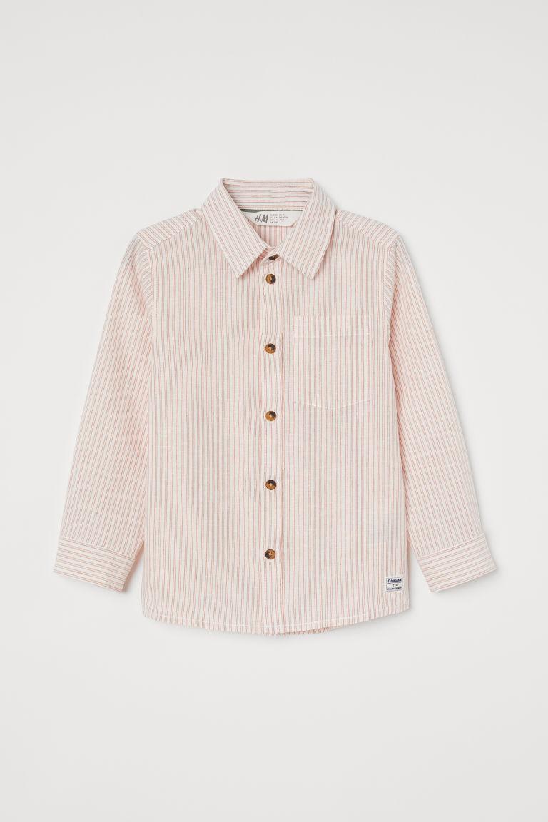 H & M - 亞麻混紡襯衫 - 橙色
