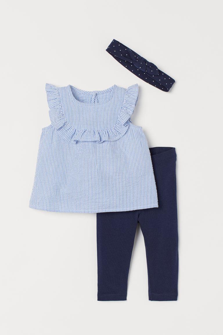 H & M - 棉質3件組套裝 - 藍色