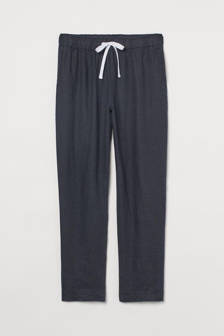 H & M - 亞麻慢跑褲 - 黑色