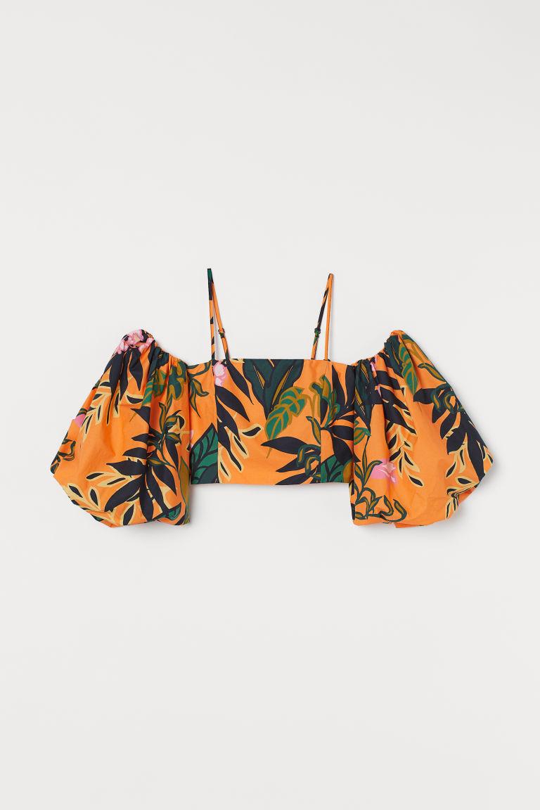 H & M - 公主袖府綢棉女衫 - 橙色