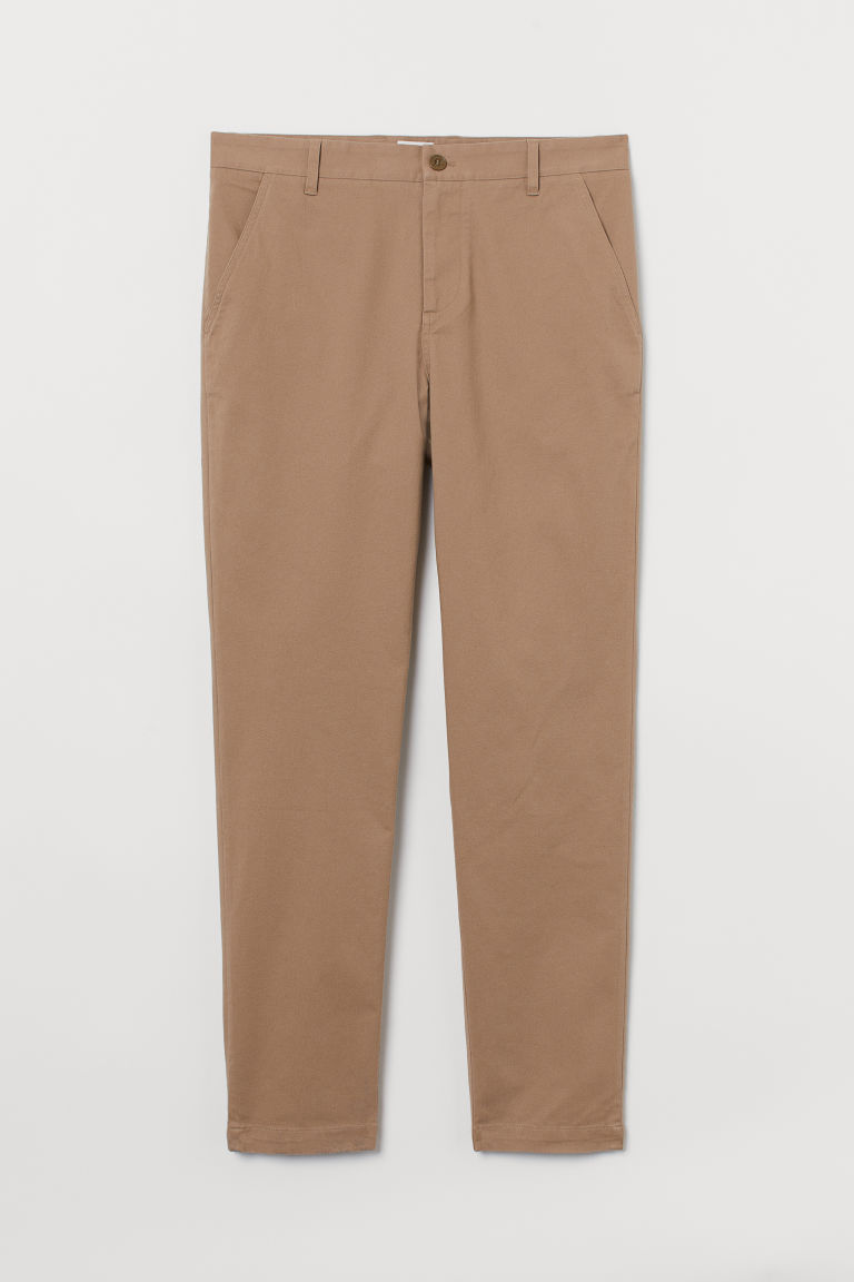 H & M - 貼身棉質卡其褲 - 米黃色