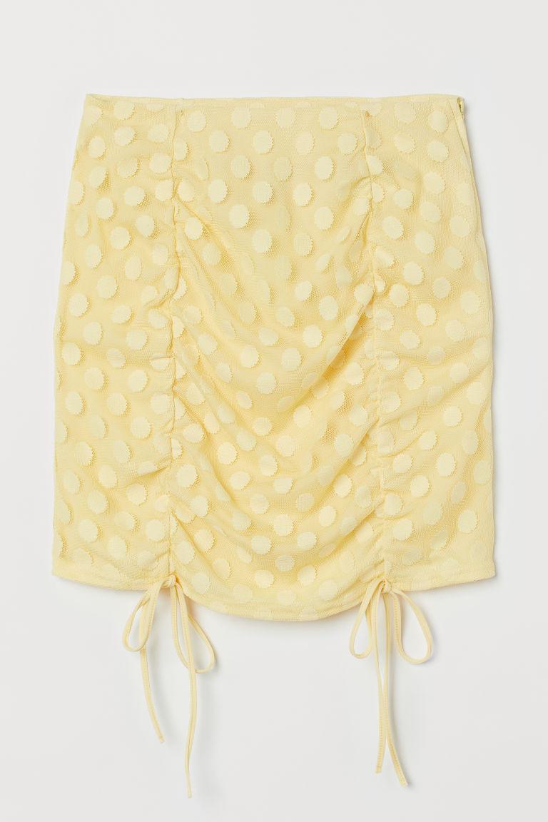 H & M - 垂墜感迷你裙 - 黃色