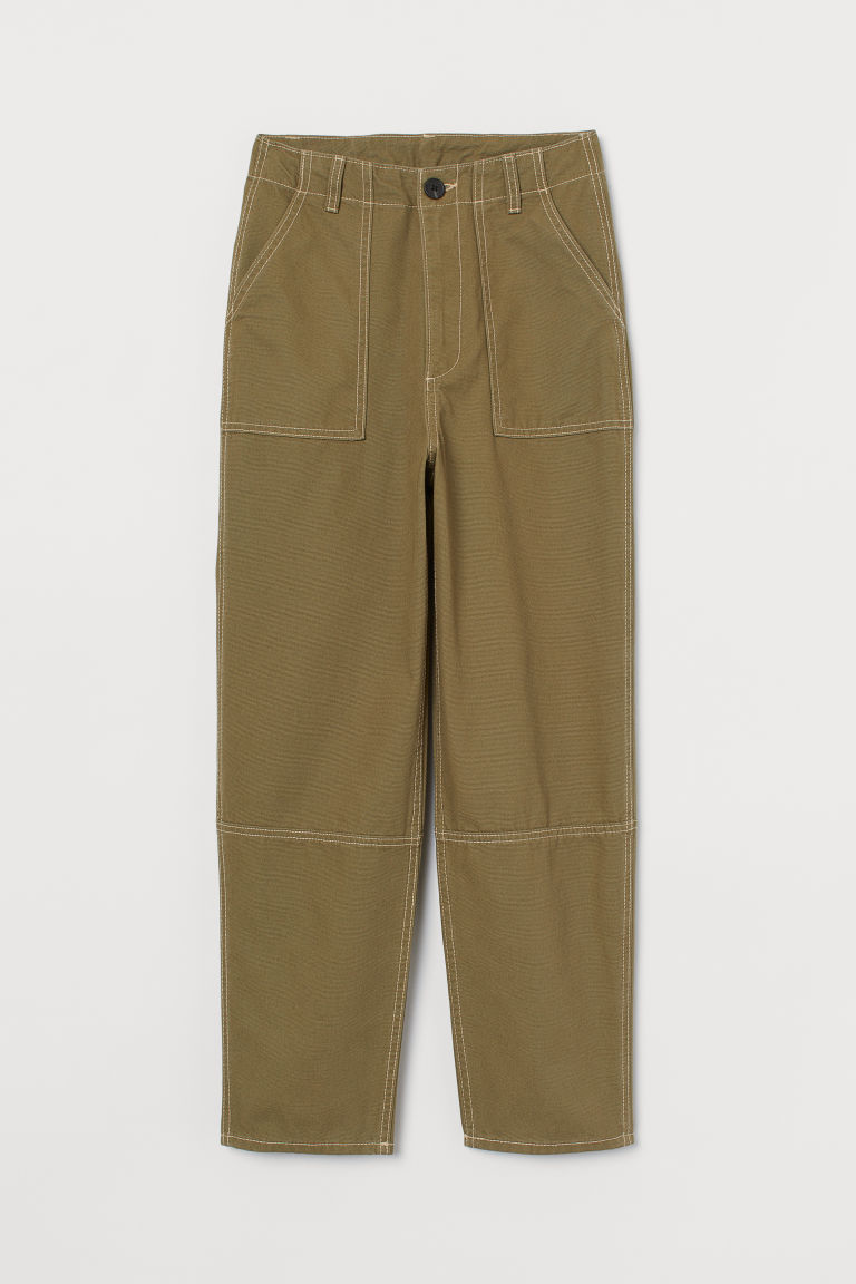 H & M - 棉質九分褲 - 綠色