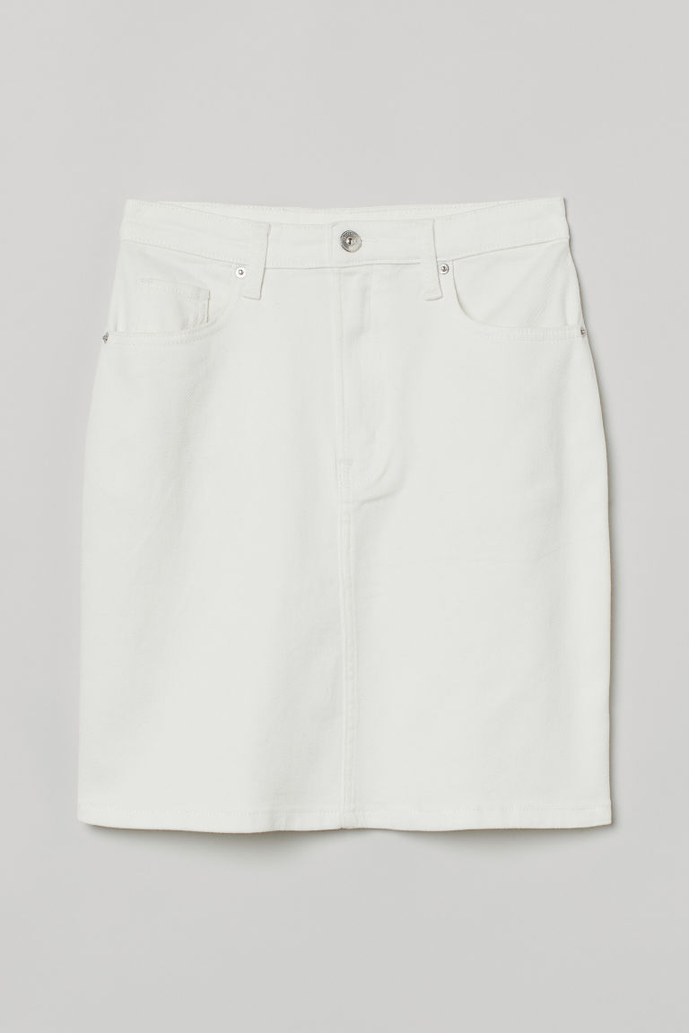 H & M - 老媽丹寧牛仔裙 - 白色