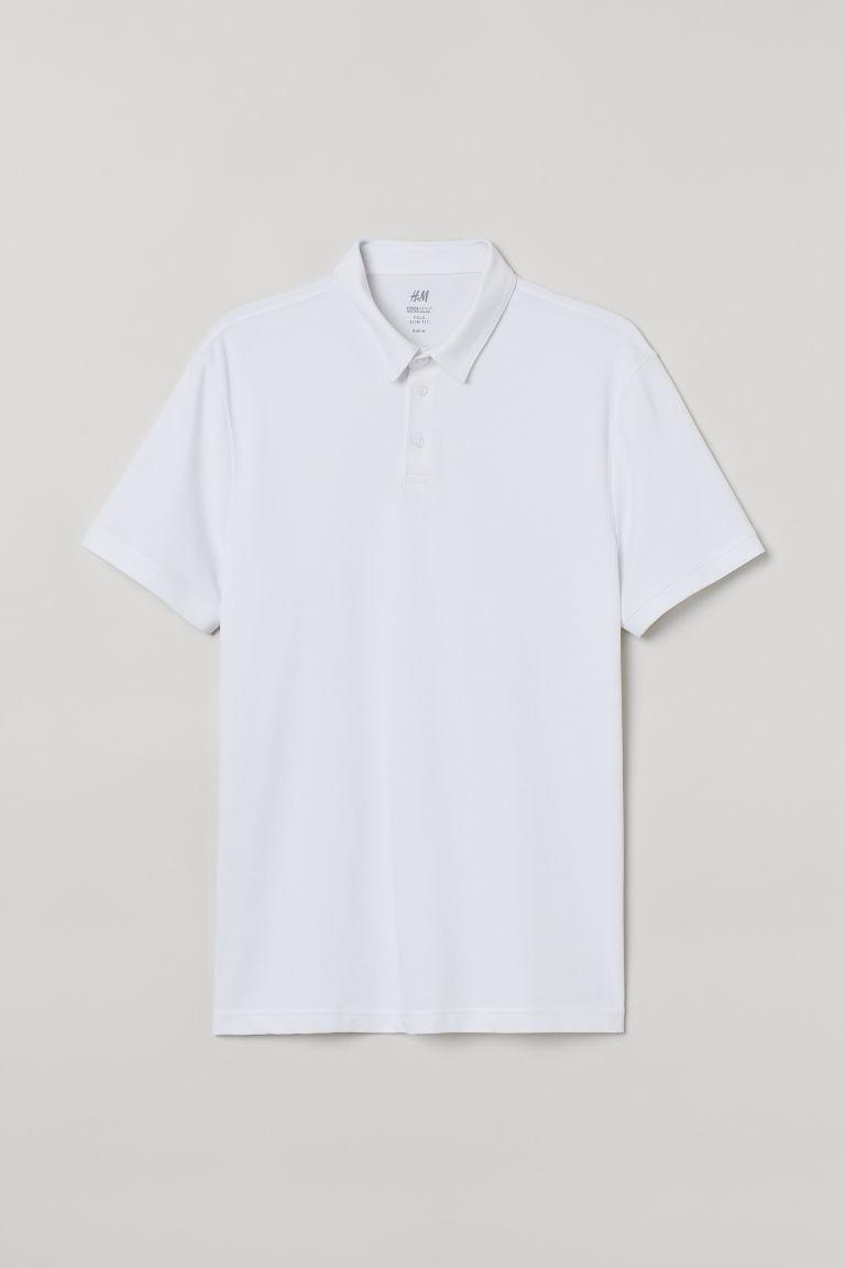 H & M - 貼身COOLMAX®纖維Polo衫 - 白色