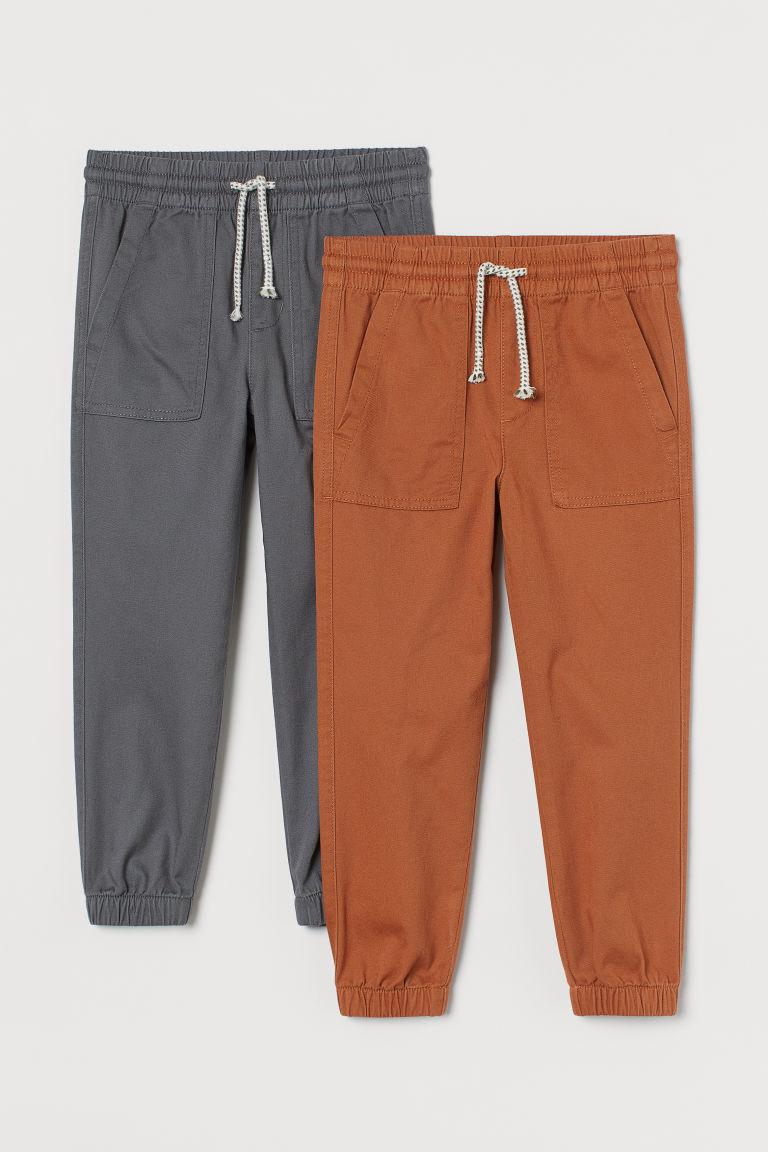 H & M - 2件入斜紋慢跑褲 - 橙色