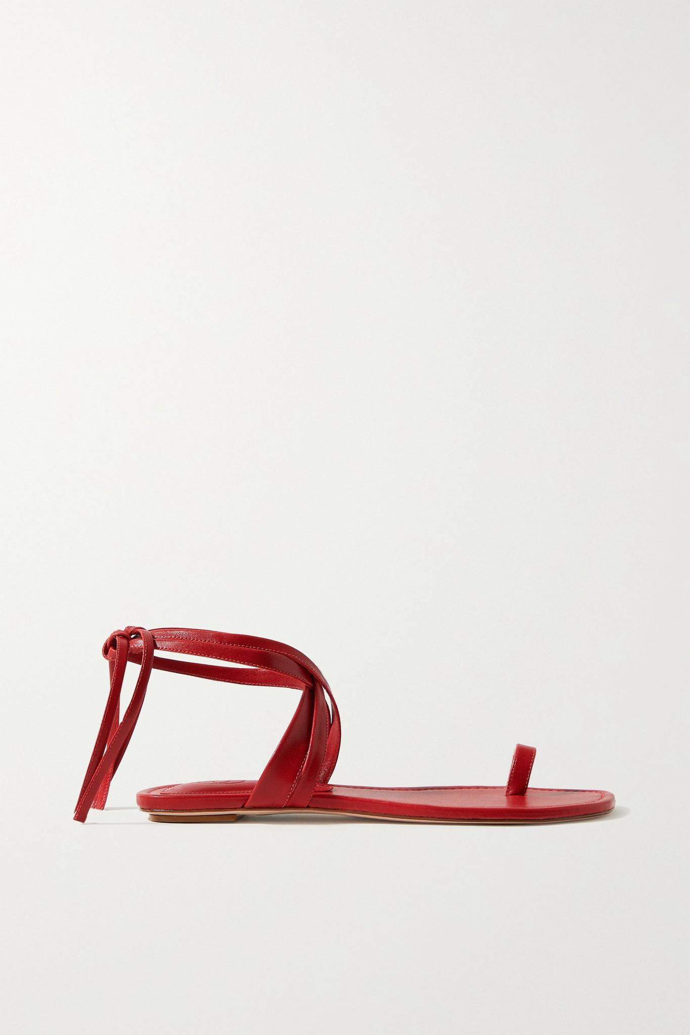 PORTE & PAIRE - 皮革凉鞋 - 红色 - IT38.5